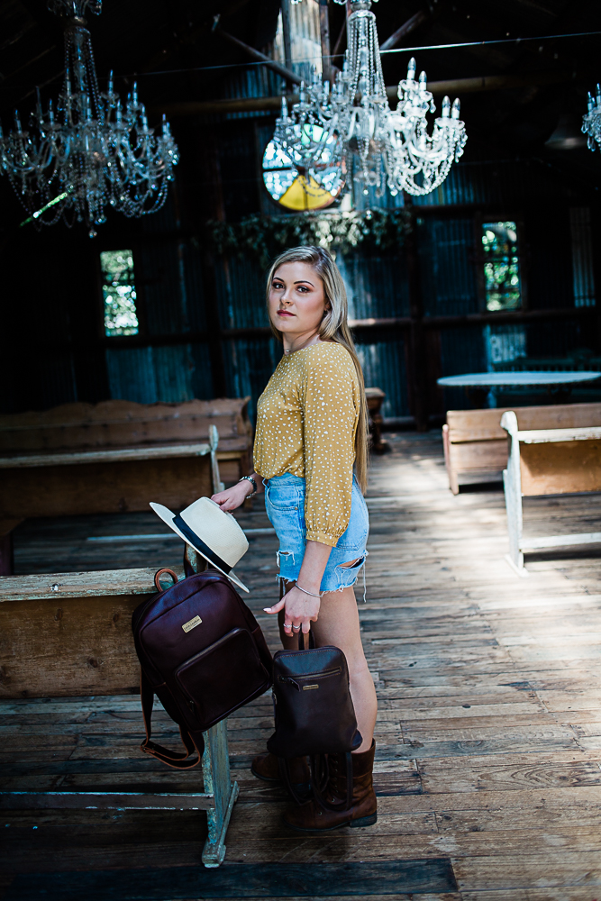 Lady with backpacks
